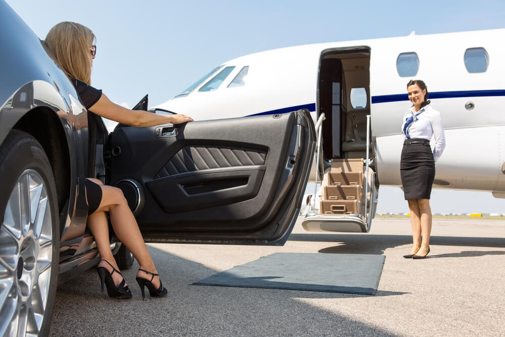 Woman Getting to Her Private Flight